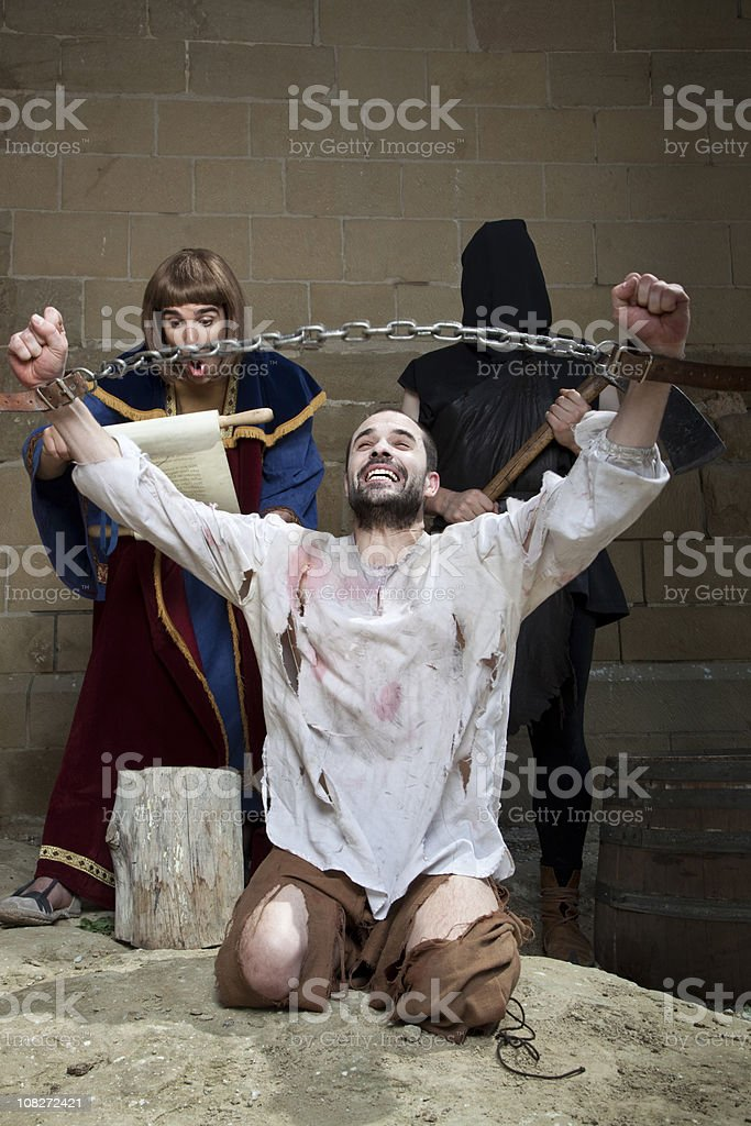 Not guilty: wrongfully convicted is freed before the execution. royalty-free stock photo