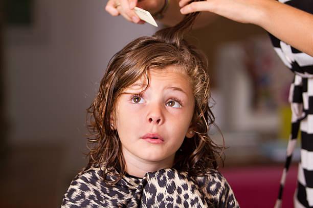 Not happy at hair salon stock photo
