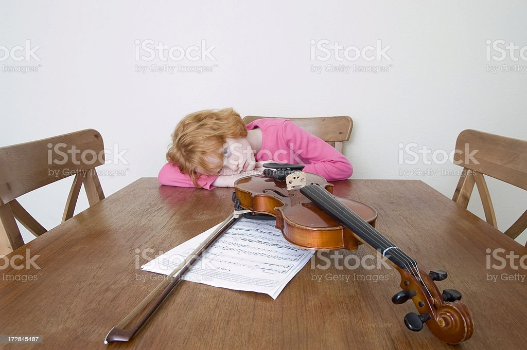not in the mood for studying violin royalty-free stock photo