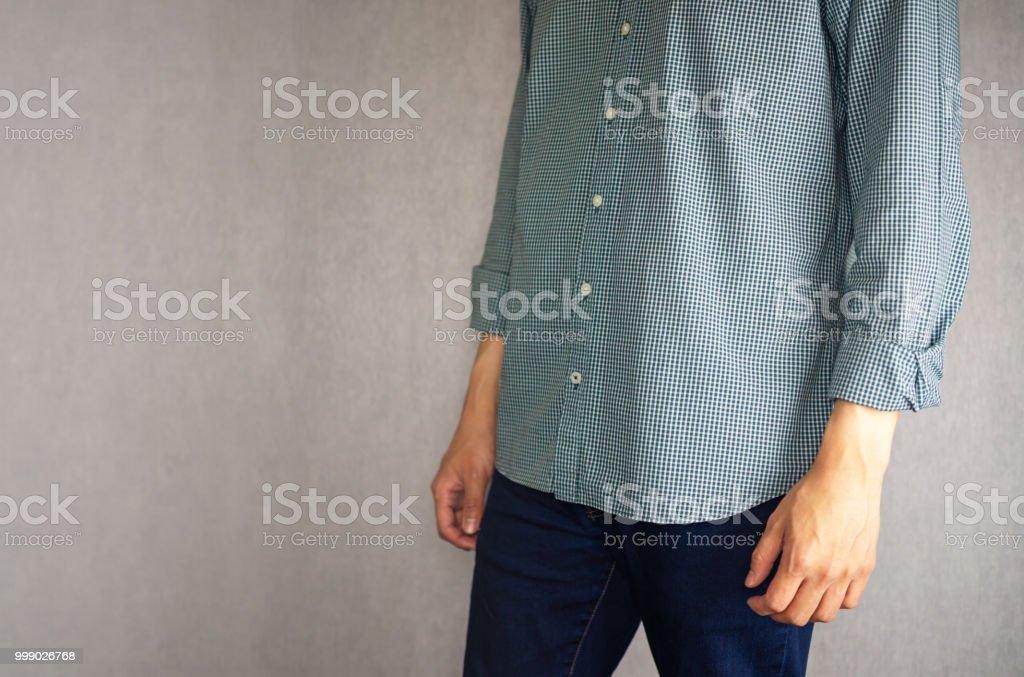 Not tucked in shirt by casual man royalty-free stock photo