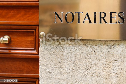 845085240 istock photo Notaire golden french sign gold logo notary office building wall , notaires means notaries 1248800008