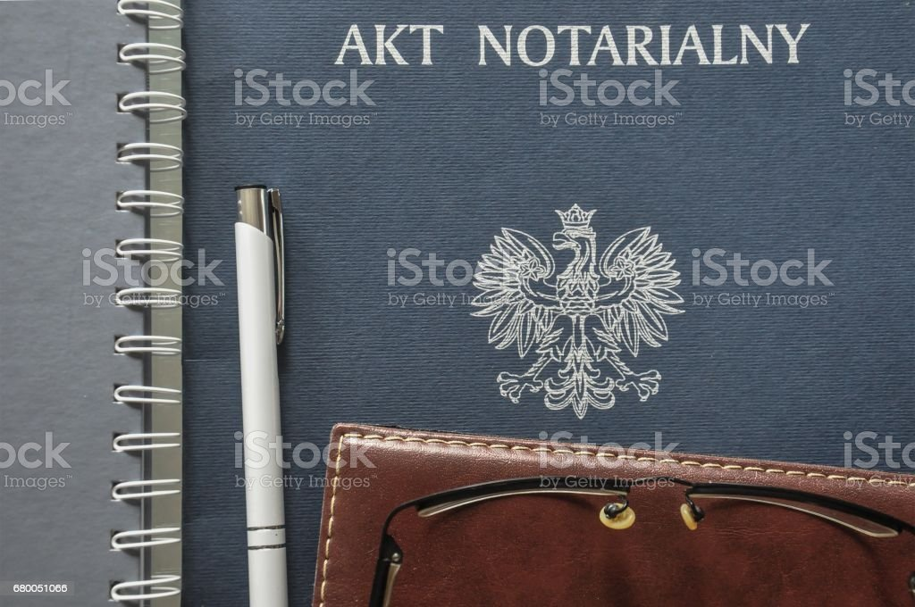 Notarial act presented and ready to be signed stock photo