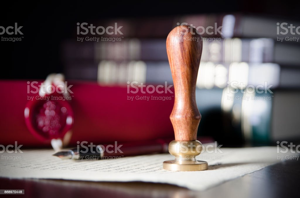 Notary public, attorney. Law concept with stamp in courtroom stock photo