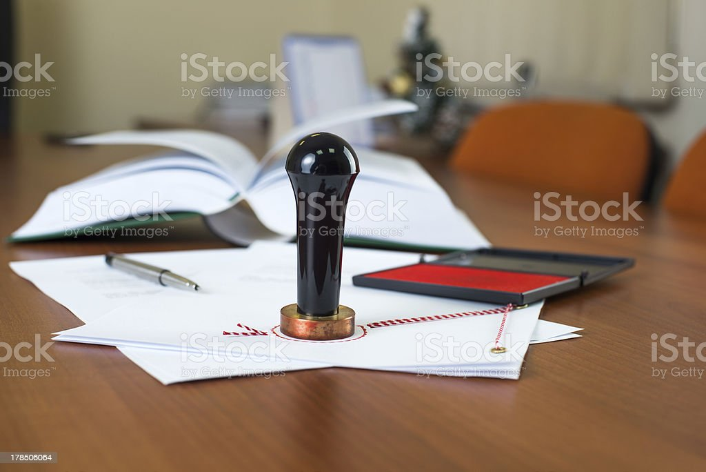 Notary public ink stamp stock photo