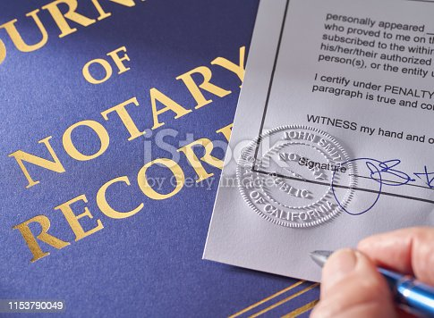 Notary Public: Seal embossed on document with pen