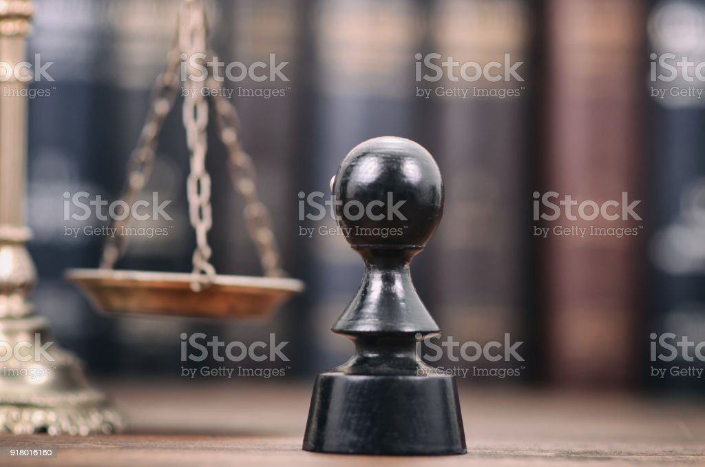 Notary seal and Scales of Justice on the wooden background, Notarized document concept, Legality concept. stock photo