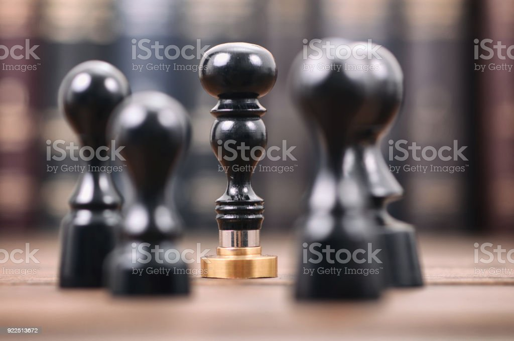 Notary seals on the wooden background. stock photo