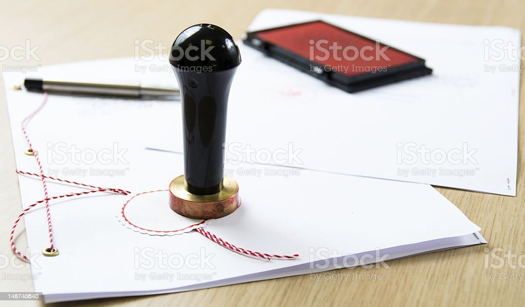Notary stamper stock photo