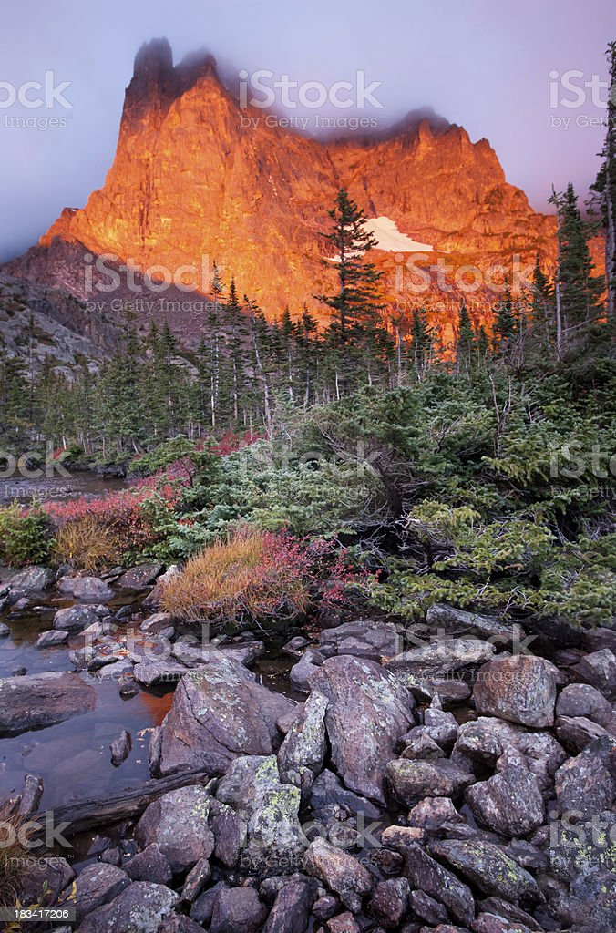 Notchtop Mountain Alpenglow stock photo