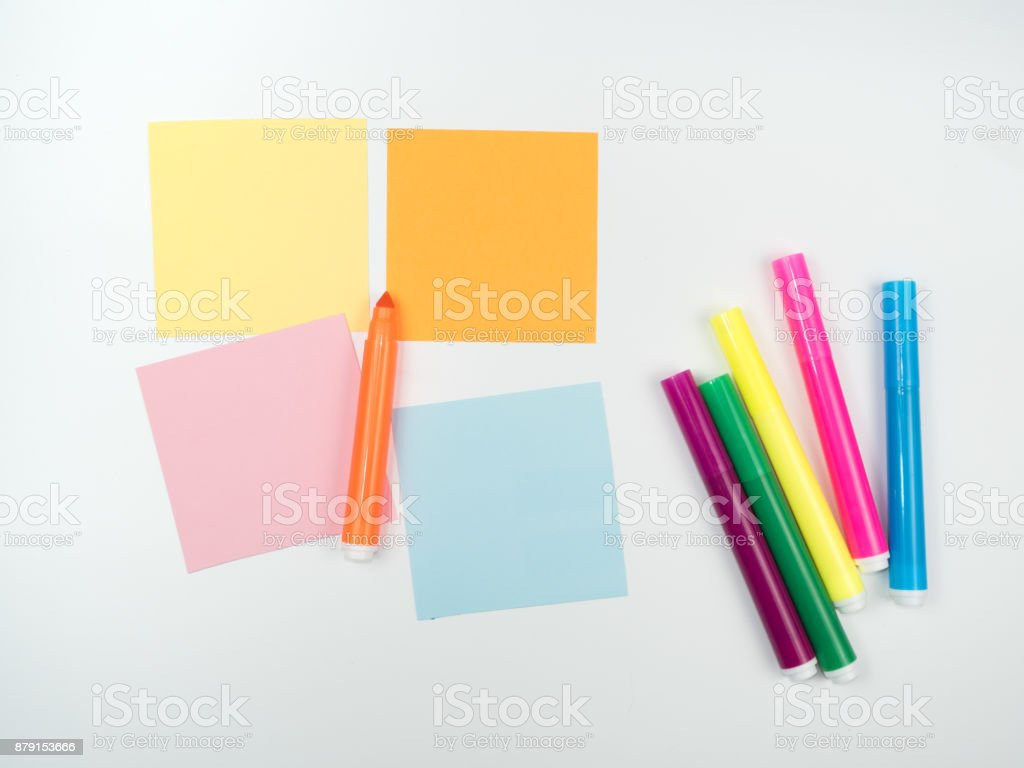 Note all colorful paper and magic pen, post memo papers isolated on white background stock photo