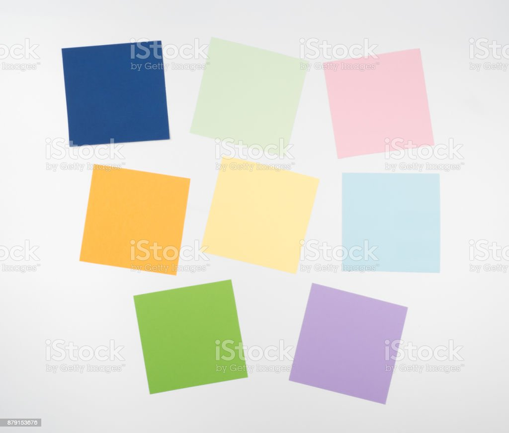 Note all colorful paper set, post memo papers isolated on white background stock photo