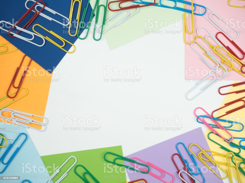 Note all colorful paper set with paperclip, collection on white background stock photo