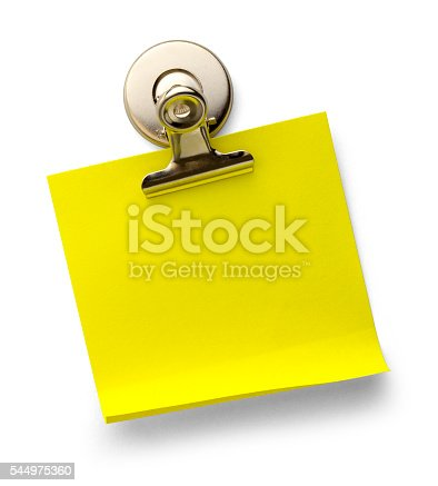 Yellow Sticky Note with Magnetic Metal Paper Clip Isolated on a White Background.