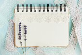 Note book, lavender, lace