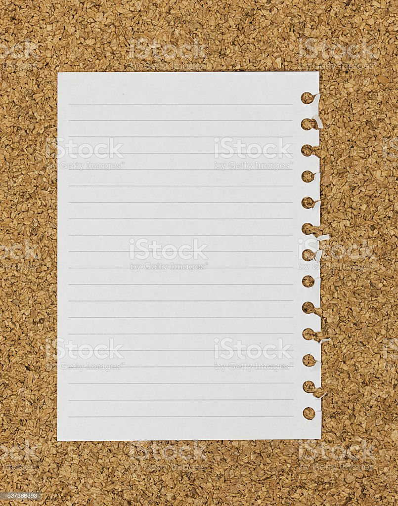 Note book paper on the cork board stock photo