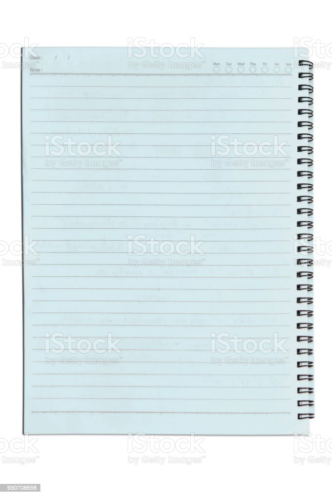 Note book paper with ring on isolated white background stock photo