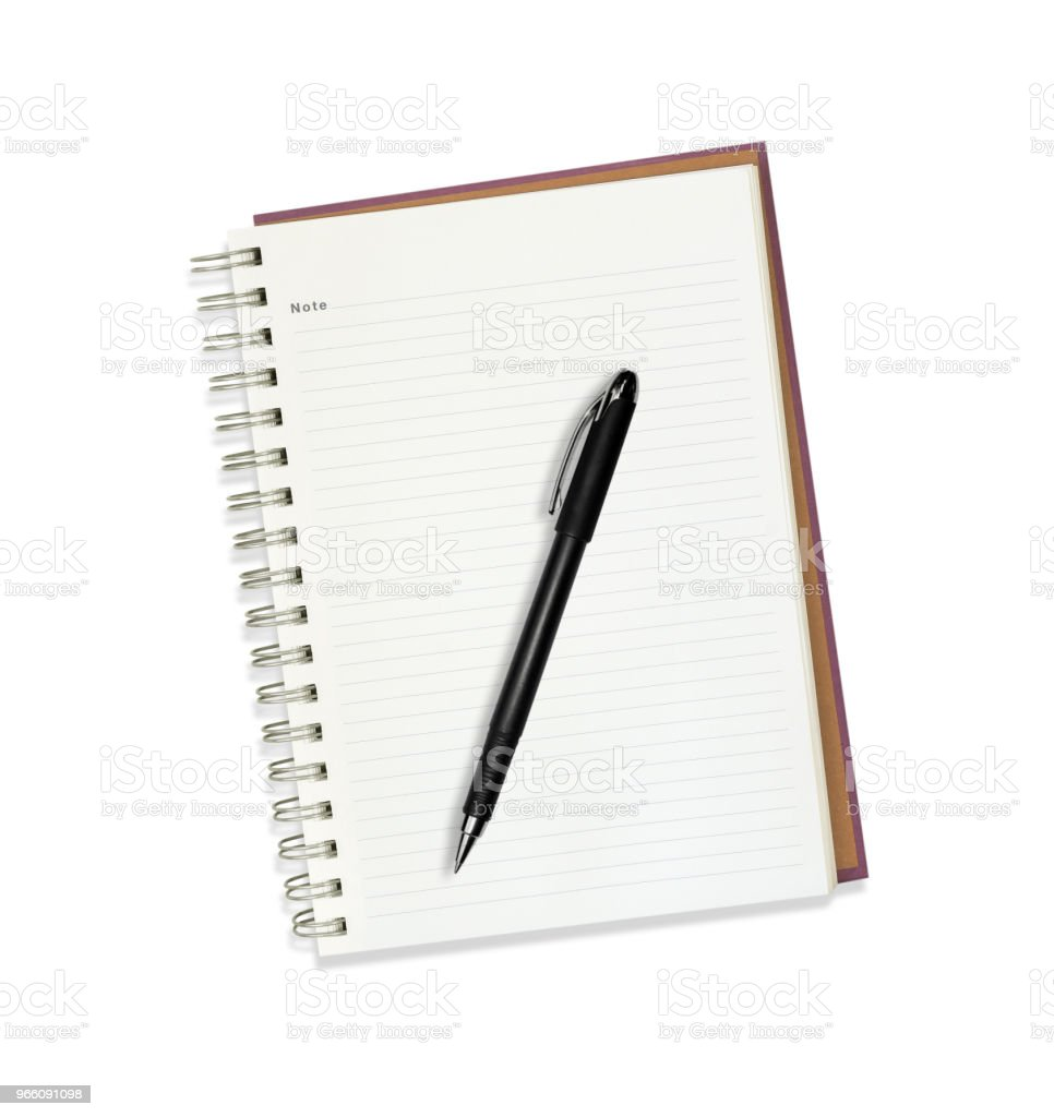 Note book with pen isolated on white - Royalty-free Blank Stock Photo