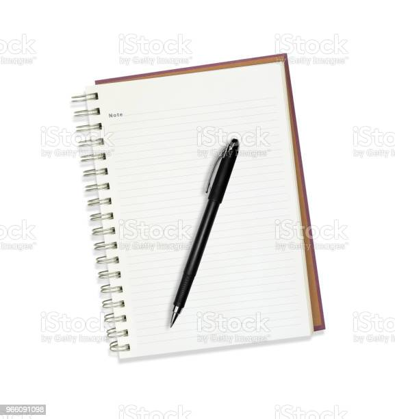 Note Book With Pen Isolated On White Stock Photo - Download Image Now