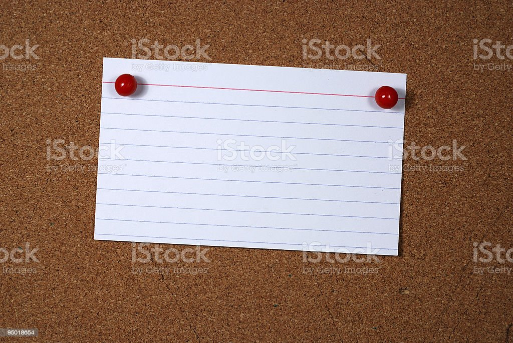 Note card on bulletin board royalty-free stock photo