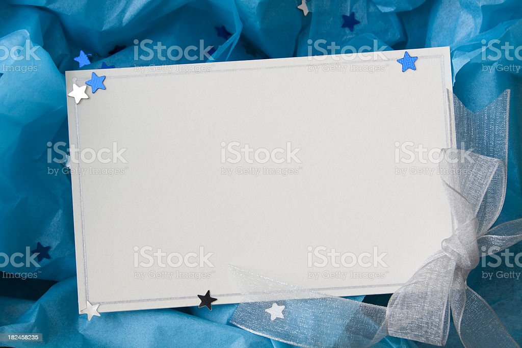 Note card with ribbon. stock photo
