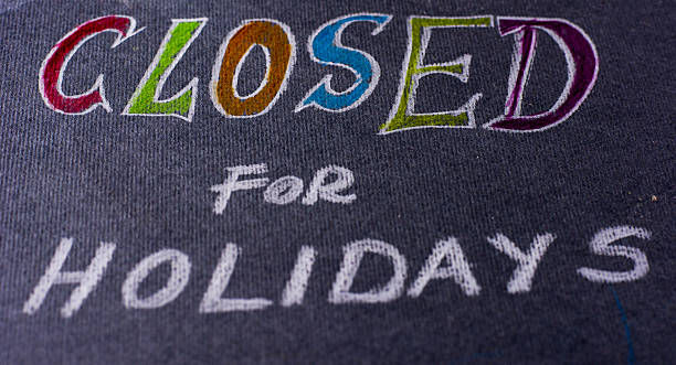 note for closed on holidays - closed stock photos and pictures