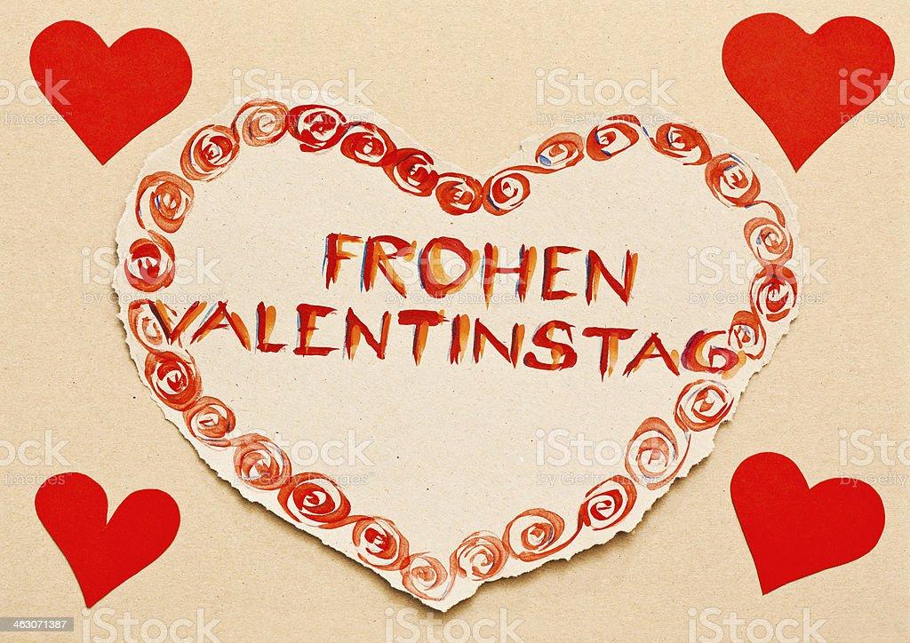 Note U0027Frohen Valentinstagu0027 Written On Grunge Heart Royalty Free Stock Photo