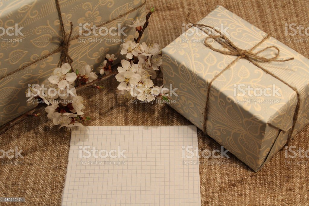 Note, gift and blossom branch royalty-free stock photo
