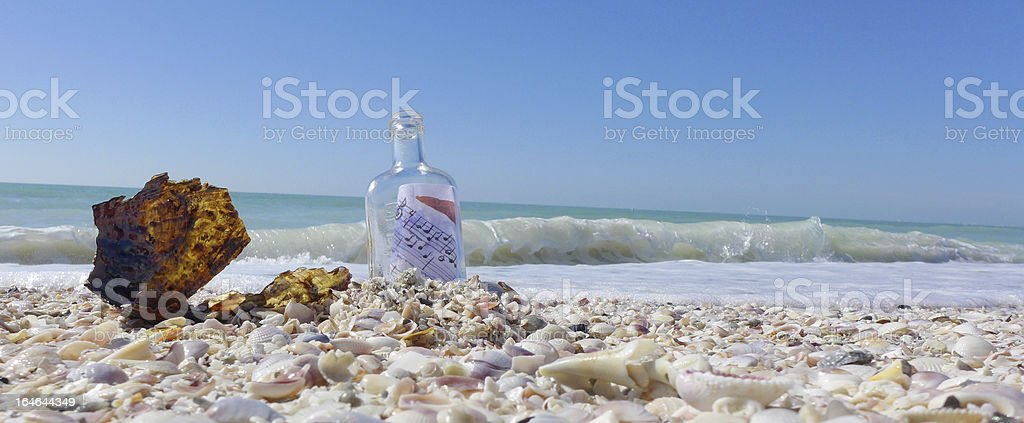 Note in a bottle royalty-free stock photo