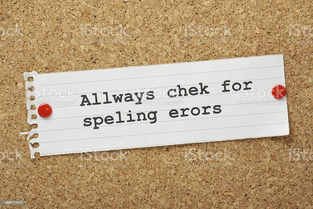 Note on a board with incorrect spelling stock photo