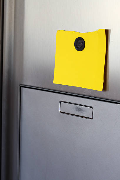 note on  refrigerator stock photo