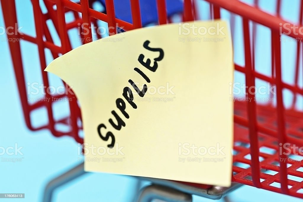 Note on tiny trolley says SUPPLIES, shopping that's regularly needed royalty-free stock photo