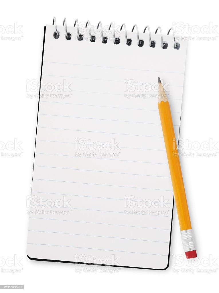 Note pad and Pencil (with path) stock photo