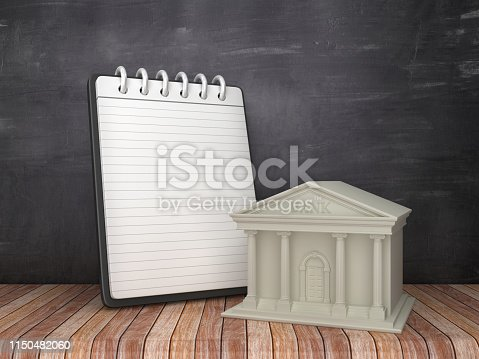 Note Pad with Bank Building on Chalkboard Background - 3D Rendering