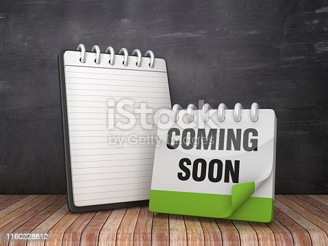Note Pad with COMMING SOON Calendar on Chalkboard Background - 3D Rendering