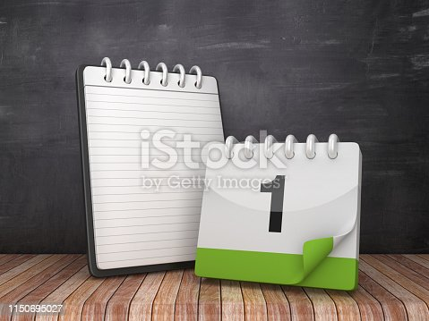 istock Note Pad with Day 1 Calendar on Chalkboard Background - 3D Rendering 1150695027