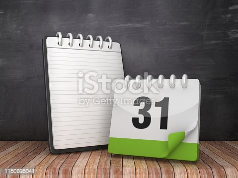 istock Note Pad with Day 31 Calendar on Chalkboard Background - 3D Rendering 1150695041