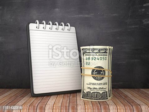 Note Pad with Dollar Money Roll on Chalkboard Background - 3D Rendering