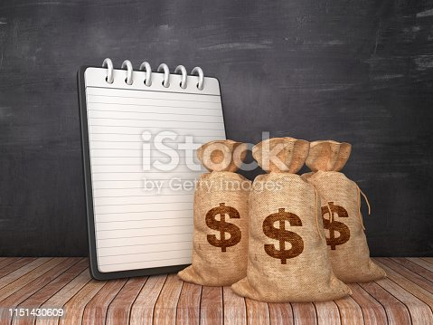 Note Pad with Dollar Money Sack on Chalkboard Background - 3D Rendering