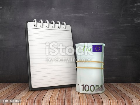 Note Pad with Euro Money Roll on Chalkboard Background - 3D Rendering