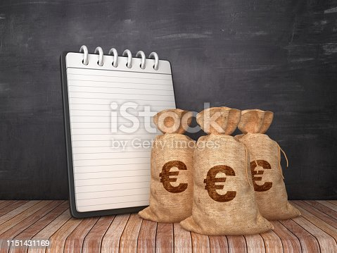 Note Pad with Euro Money Sack on Chalkboard Background - 3D Rendering