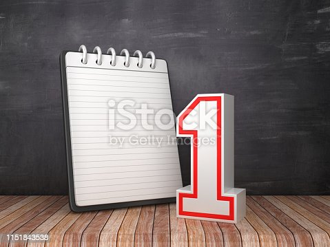 Note Pad with Number One on Chalkboard Background - 3D Rendering
