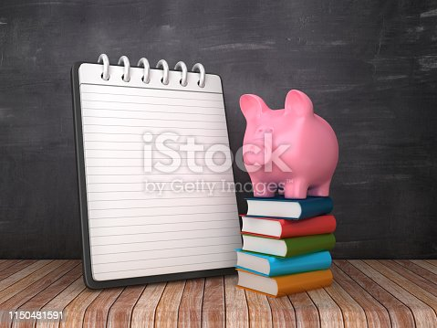Note Pad with Piggy Bank on Books on Chalkboard Background - 3D Rendering