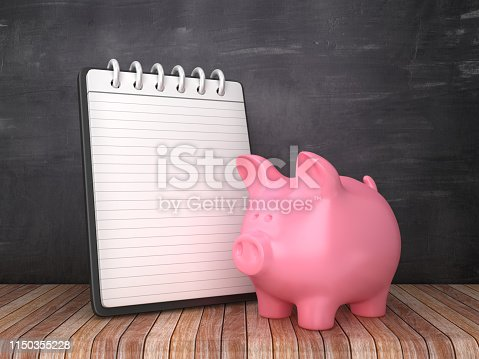 Note Pad with Piggy Bank on Chalkboard Background - 3D Rendering