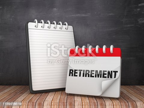 Note Pad with RETIREMENT Calendar on Chalkboard Background - 3D Rendering