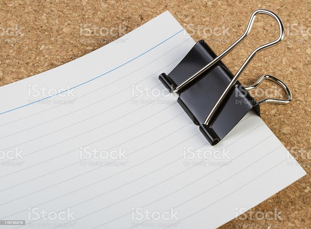 Note page with foldback clip royalty-free stock photo