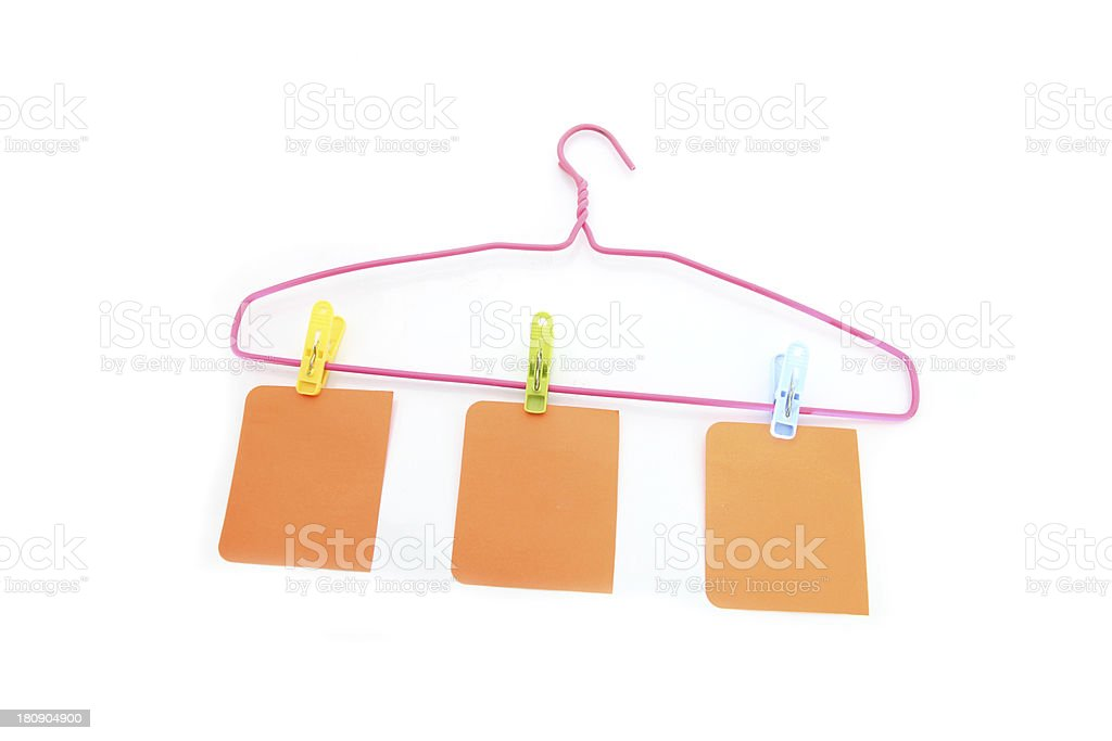 Note paper and hanger. royalty-free stock photo
