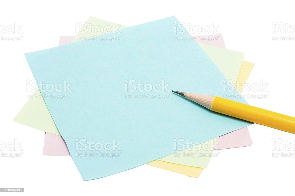 Nota papel y lápiz foto de stock libre de derechos