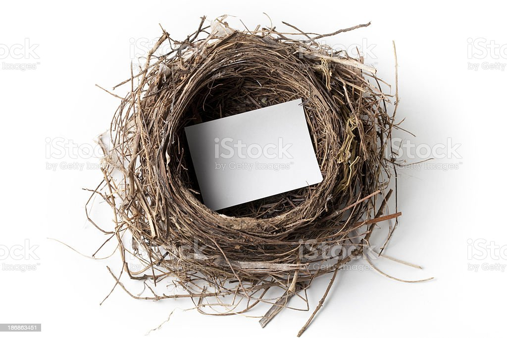 Note paper in a nest stock photo