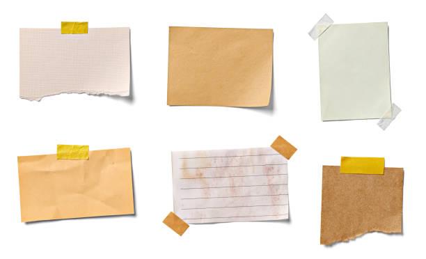 uwaga papier kawałek etykieta vintage grunge taśma - notes zdjęcia i obrazy z banku zdjęć