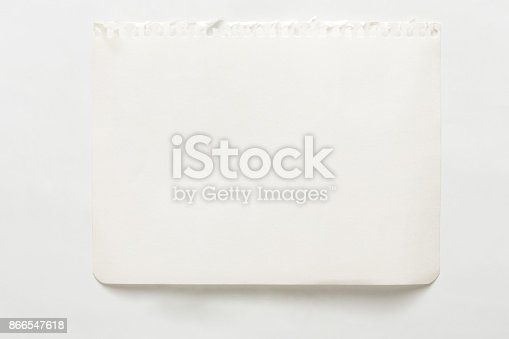 istock Note paper piece, ripped notebook sheet 866547618